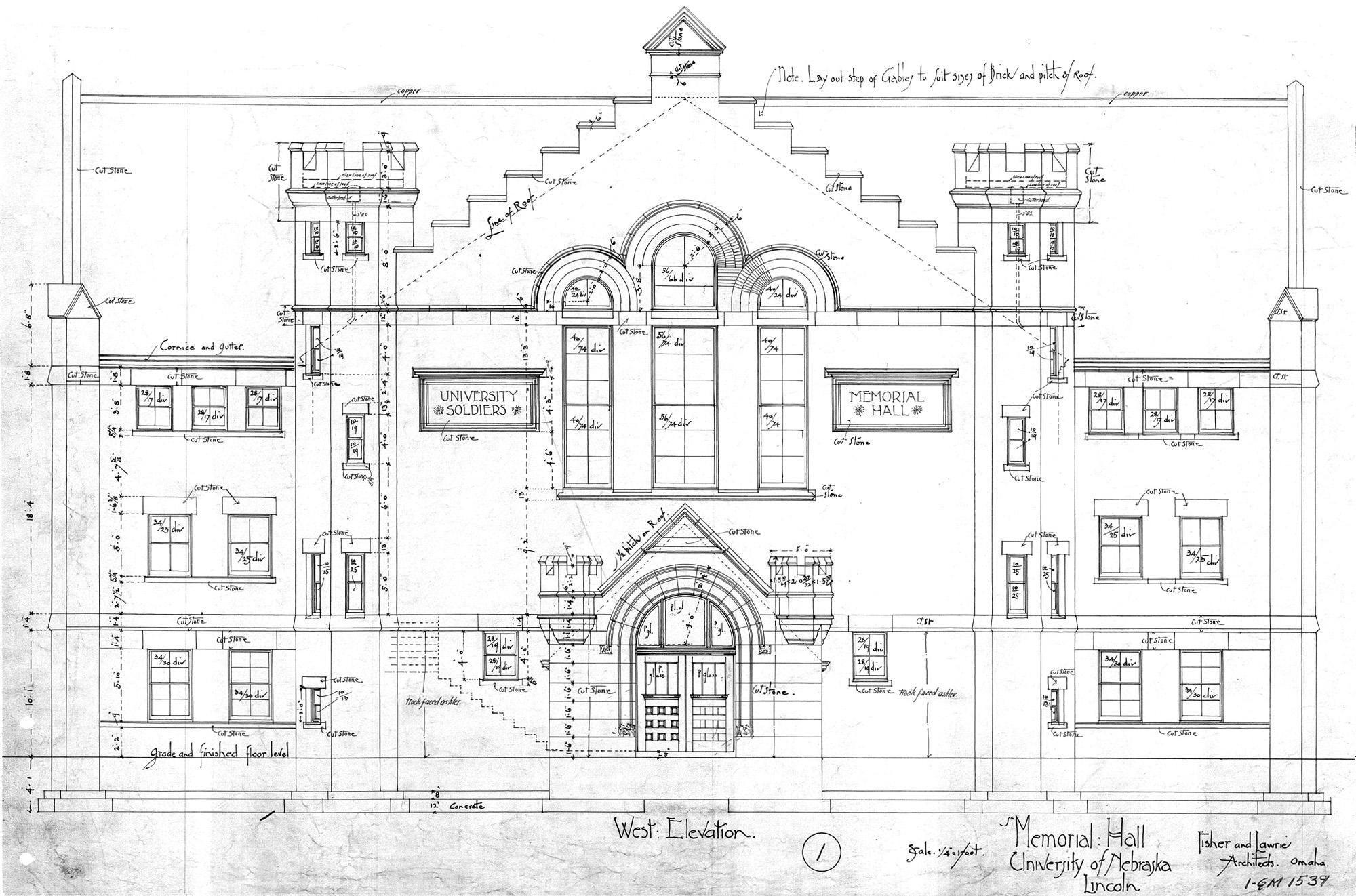 UNL Historic Buildings Grant Memorial Hall Building Plans